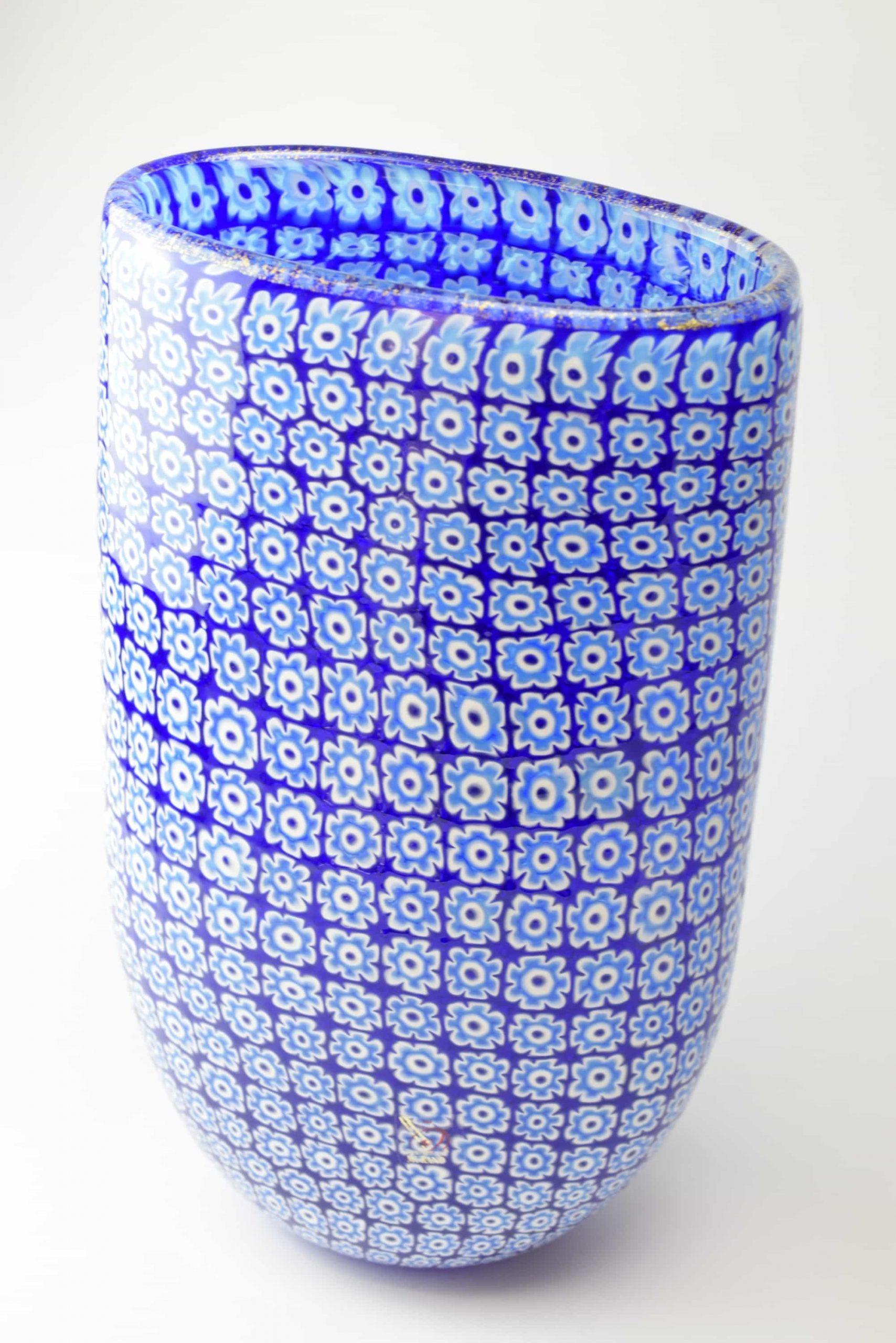 Murrine Millefiori Blue Vase