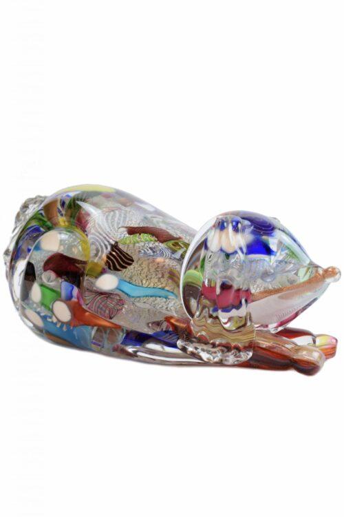 Murano glass dog paperweight signed