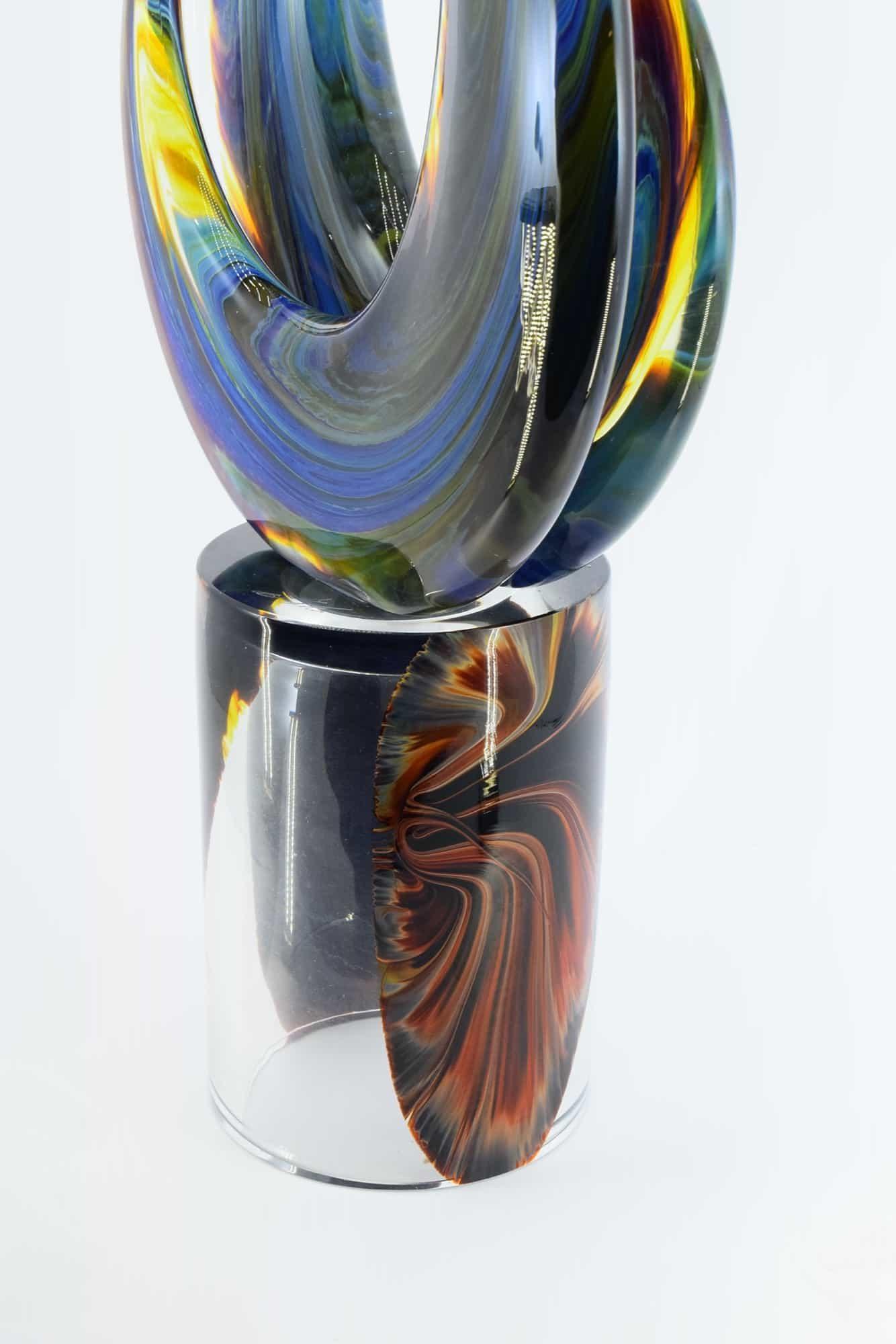 "Chalcedon-Skulptur ""Doppelmonde"" aus Muranoglas - (Art. 1963)"