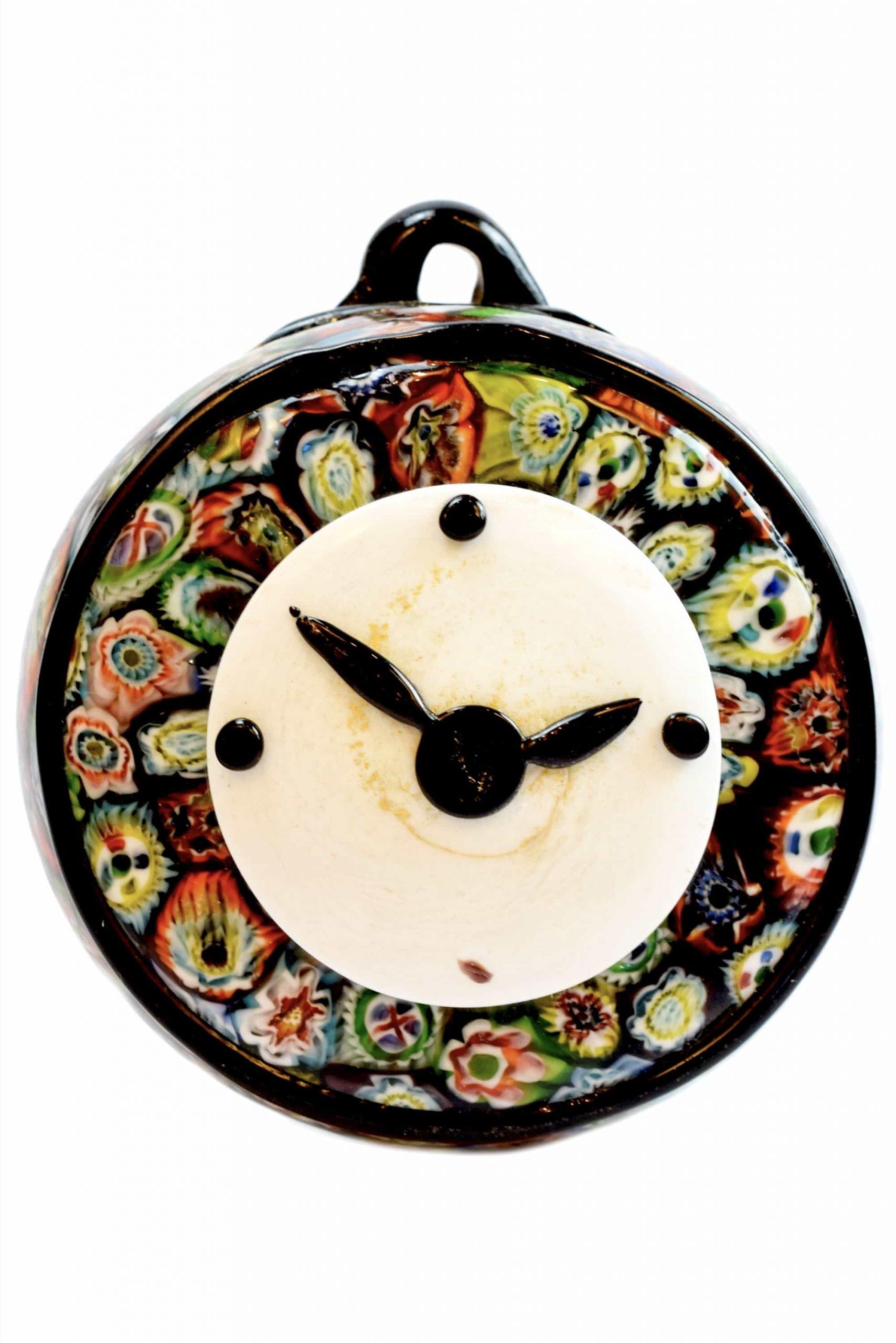 Часы из муранского стекла с муррином
