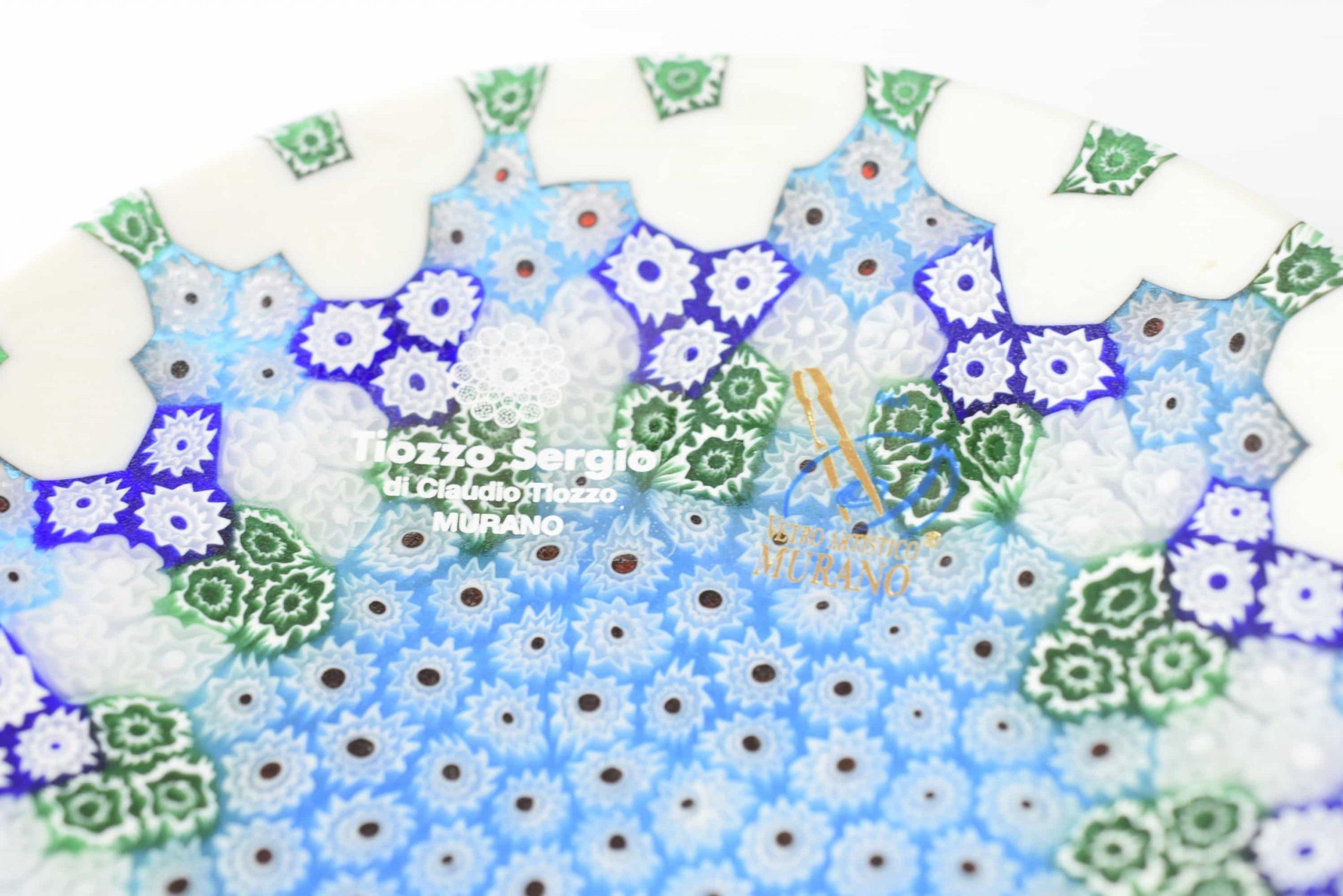Murano Glasplatte mit Blue Murrine