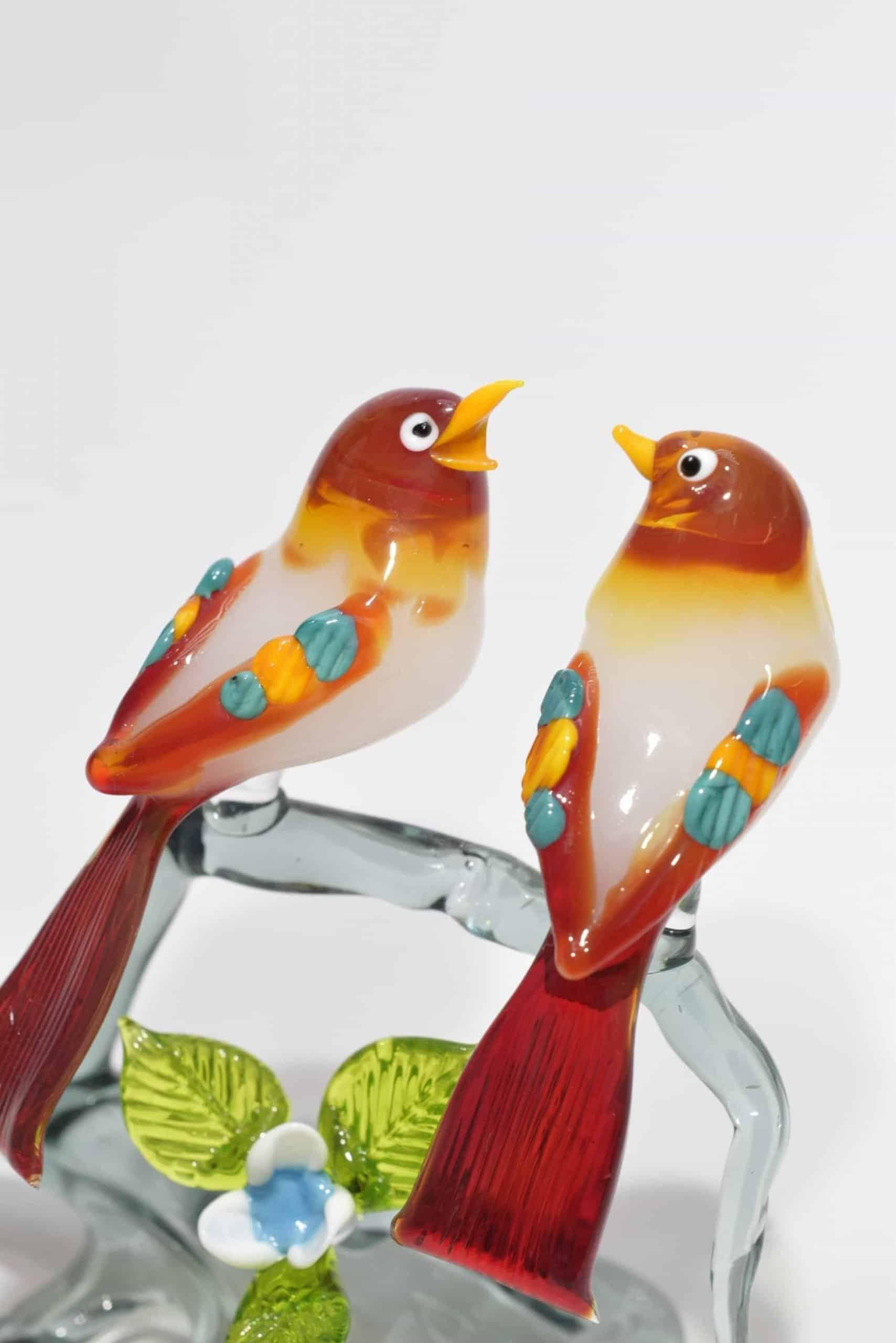 Zweig mit Vögeln in Muranoglas