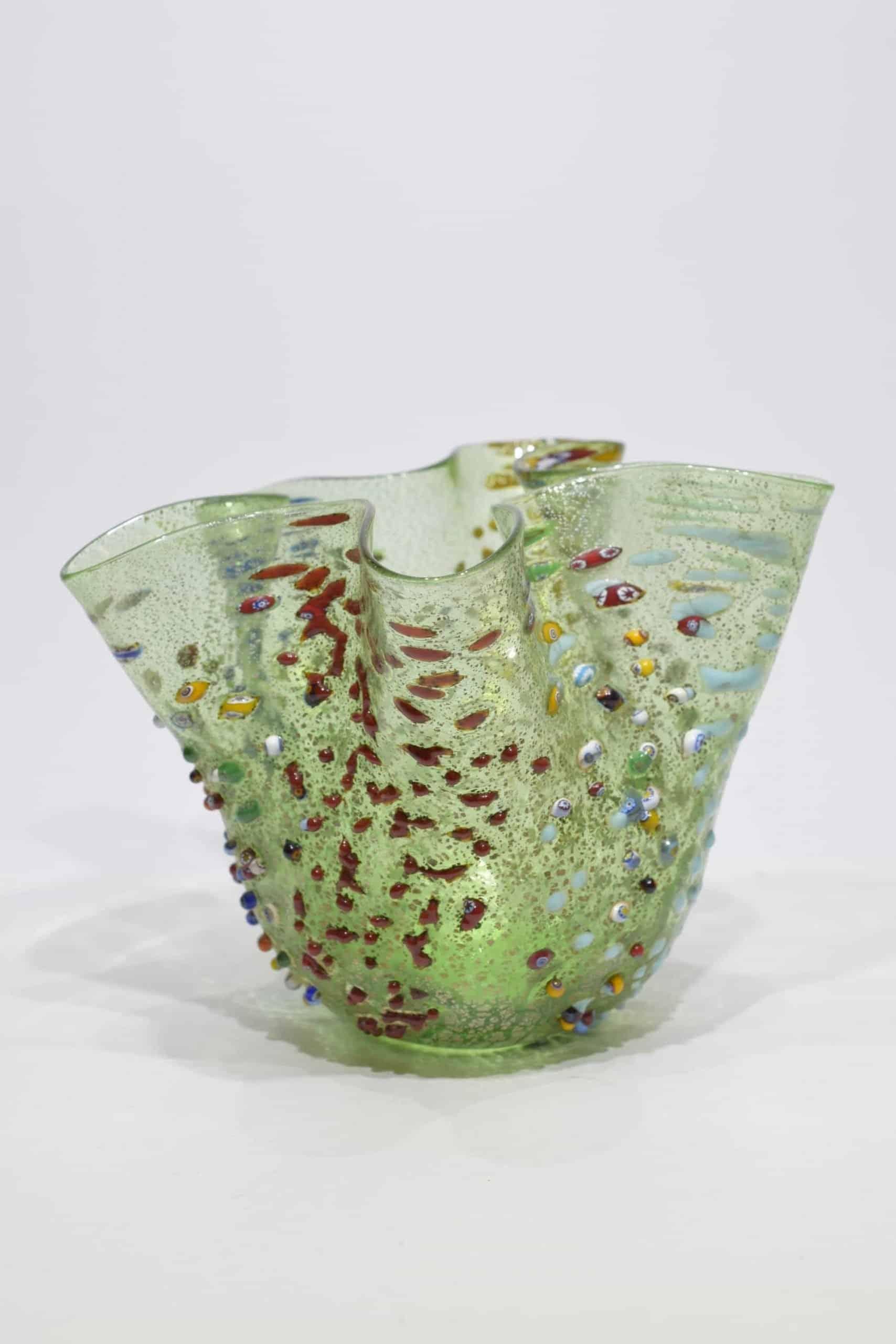Grünes Taschentuch aus Muranoglas