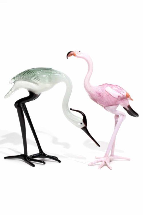 Murano geblasener Glasreiher und Flamingo