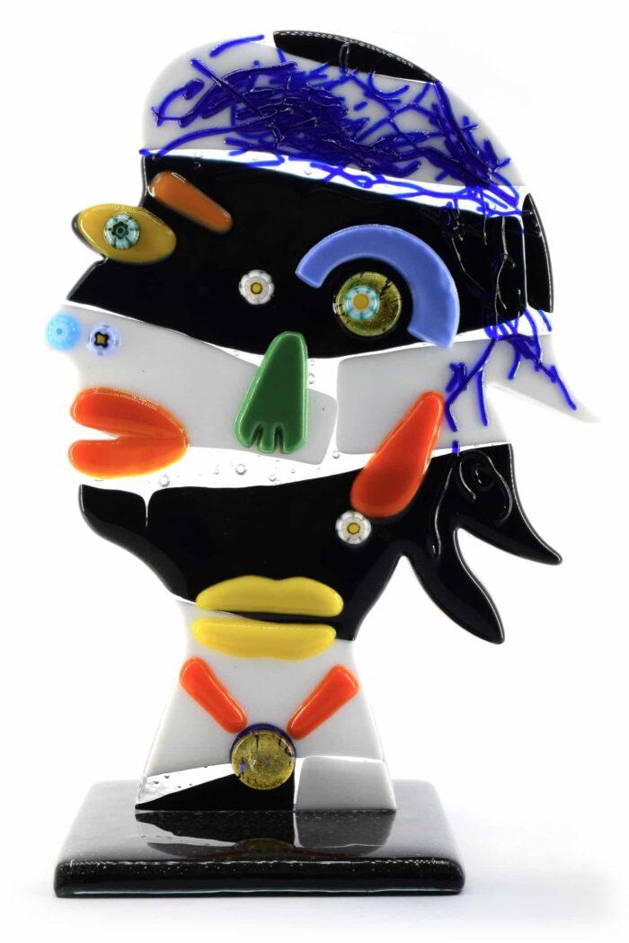 Picasso-Kopfskulptur aus Muranoglas