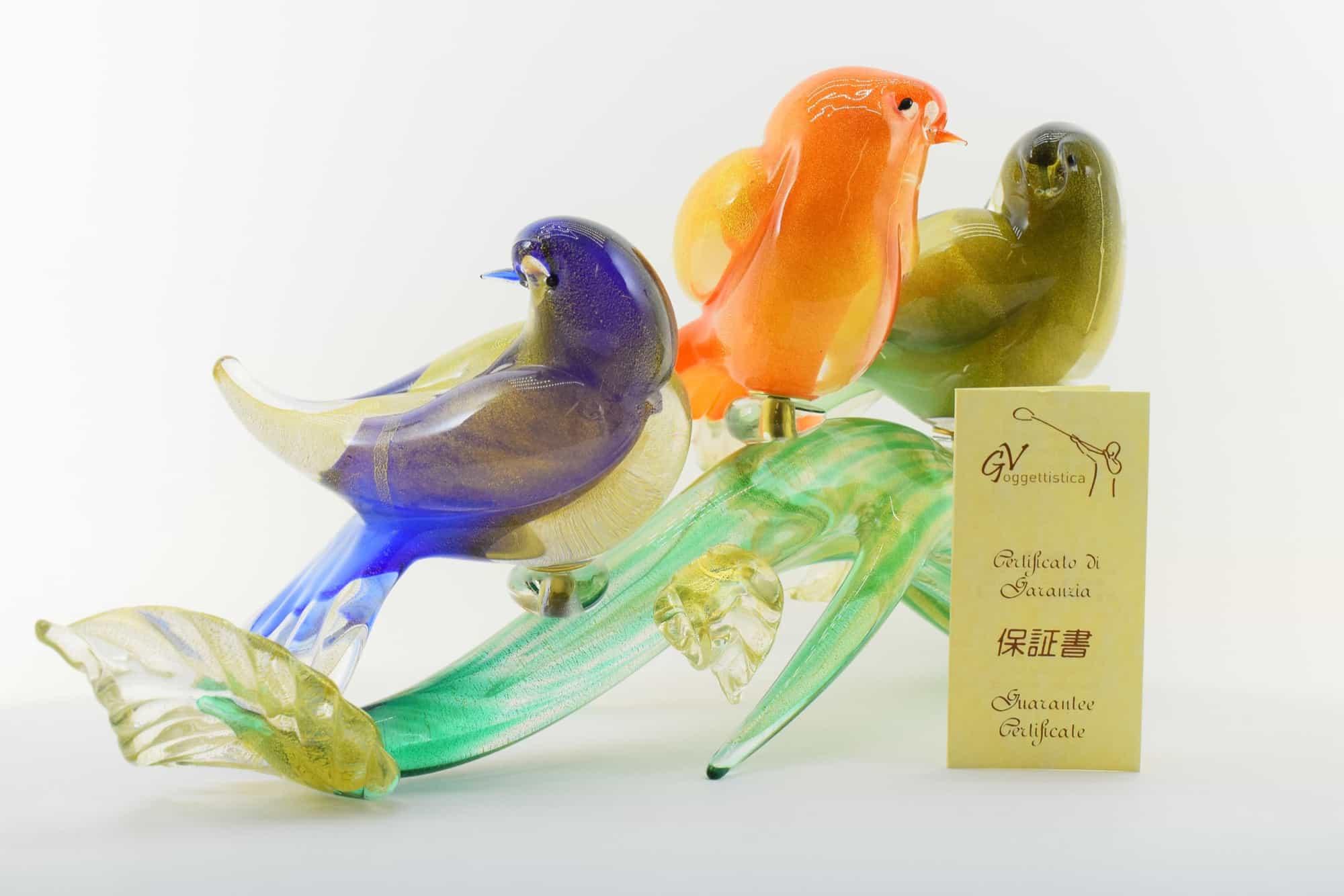 Zweig mit Vögeln aus Muranoglas - (Art. 36445)