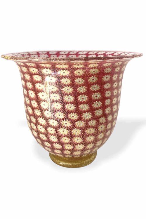 vaso Murrine rosa in vetro si murano